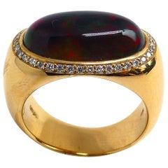 Leyser 18k Rose Gold  Black Opal & Diamonds Ring