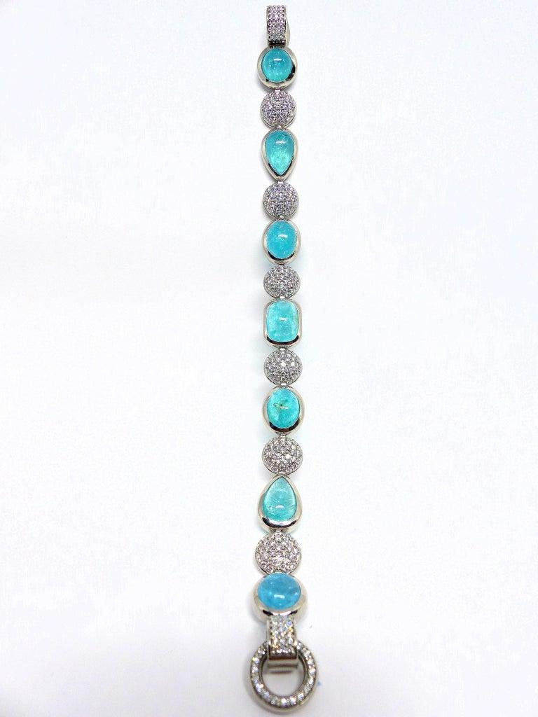 Women's 7 Paraiba Tourmaline Cabochons and Diamond Platinum Bracelet For Sale