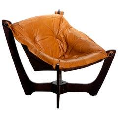 1 Camel/Cognac Leather Lounge Chair by Odd Knutsen for Hjellegjerde Møbler, 1970