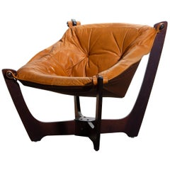 1 Camel/Cognac Leather Lounge Chair by Odd Knutsen for Hjellegjerde Møbler, 1970