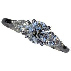 1 Carat 14 Karat Gold Ring, 3-Stone Ring, Round and Pear Diamonds Ring