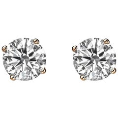 1 Carat 14 Karat Rose Gold Diamond Stud Earrings, Classic Diamond Studs