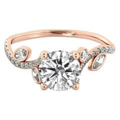 1 Carat 14 Karat Rose Gold Leaf Round Diamond Ring, Leaves Engagement Ring