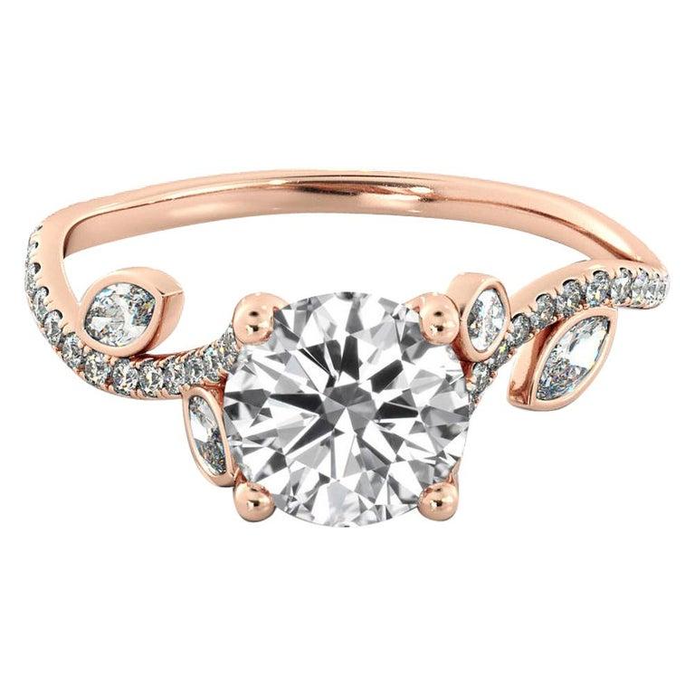 1 Carat 14 Karat Rose Gold Leaf Round Diamond Ring, Leaves Engagement Ring For Sale