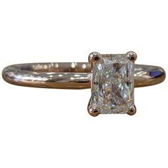 1 Carat 14 Karat Rose Gold Radiant Diamond Engagement Ring