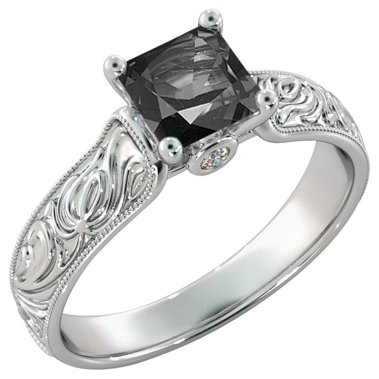 1 Carat 14 Karat White Gold Certified Princess Black Diamond Engagement Ring