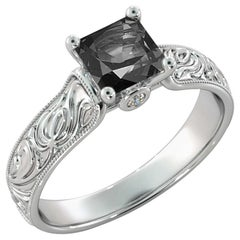 1 Carat 14 Karat White Gold Certified Princess Black Diamond Engagement Ring