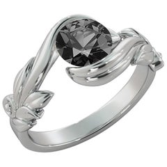 1 Carat 14 Karat White Gold Certified Round Black Diamond Engagement Ring