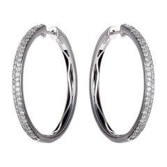 1 Carat 14 Karat White Gold Diamond Pave Round Hoop Earrings