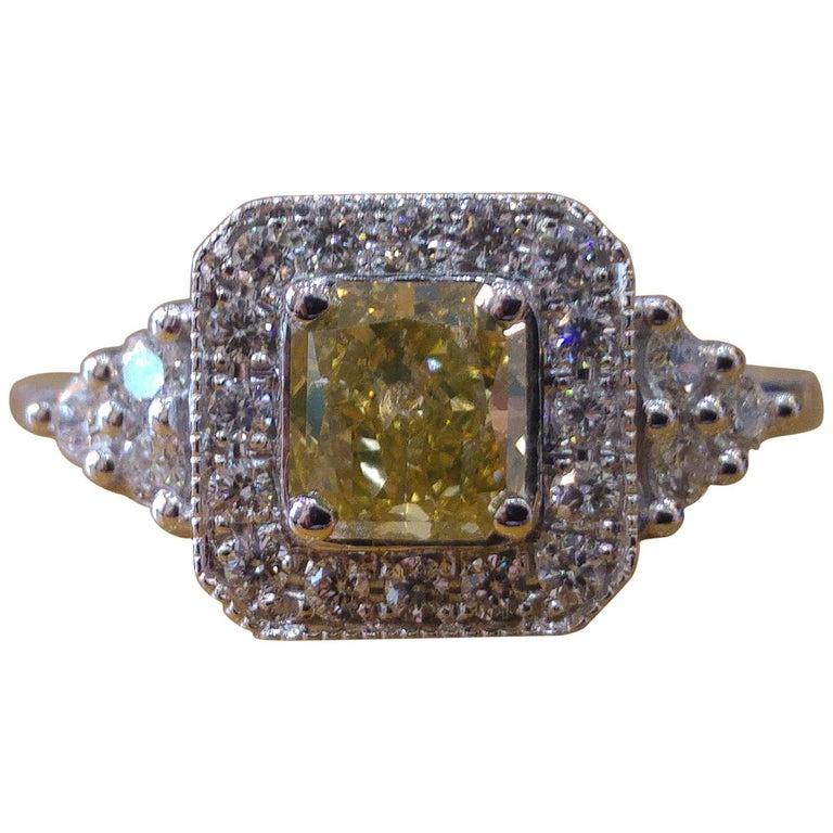 1 Carat 14 Karat White Gold Fancy Yellow Cushion Diamond Engagement Ring For Sale