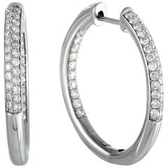 1 Carat 14 Karat White Gold Full Diamond Pave Hoop Earrings