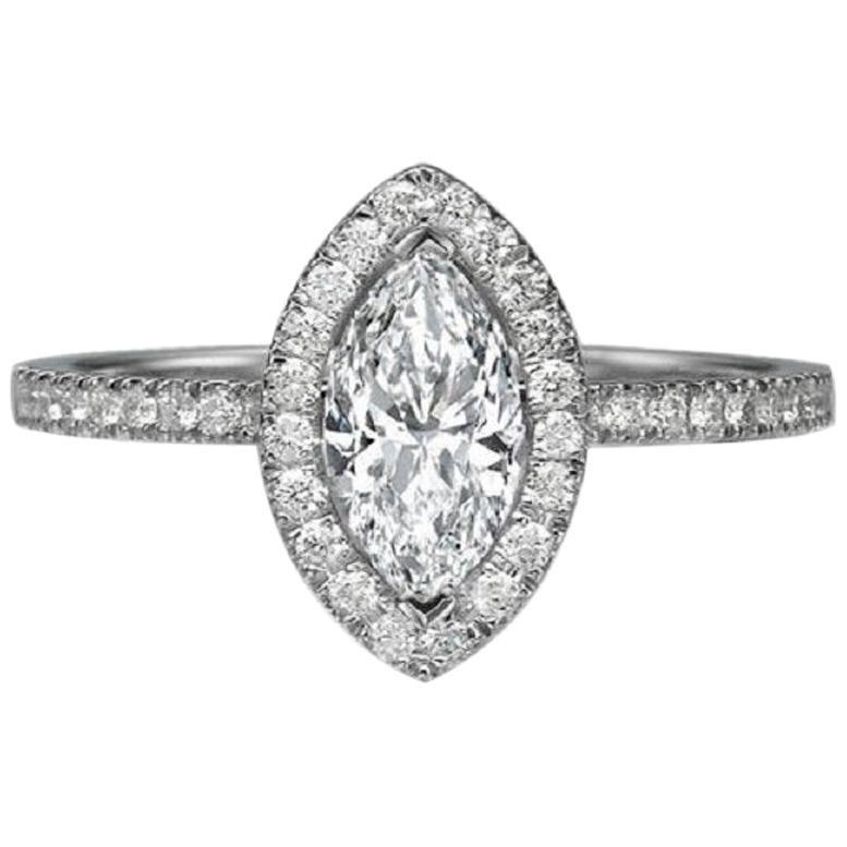 1 Carat 14 Karat White Gold Marquise Diamond Ring, Vintage Halo Style Ring
