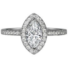 1 Carat 14 Karat White Gold Marquise Diamond Ring, Vintage Halo Style Ring
