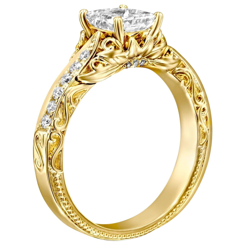 1 Carat 14 Karat White Gold Radiant Diamond Engagement Ring
