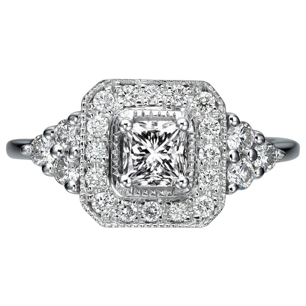 1 Carat 14 Karat White Gold Radiant Diamond Ring, Halo Diamond