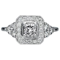 1 Carat 14 Karat White Gold Radiant Diamond Ring, Halo Diamond