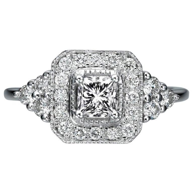 1 Carat 14 Karat White Gold Radiant Diamond Ring, Halo Diamond For Sale