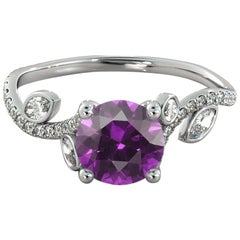 1 Carat 14 Karat White Gold Round Amethyst Filigree Engagement Ring