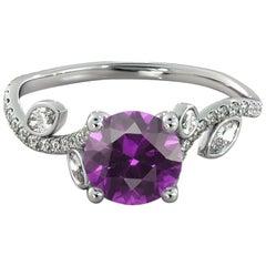 1 Carat 14 Karat White Gold Round Amethyst Vine Style Engagement Ring