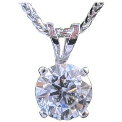 1 Carat 14 Karat White Gold Round Diamond Pendant Necklace
