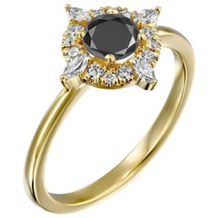 1 Carat 14 Karat Yellow Gold Certified Round Black Diamond Engagement Ring