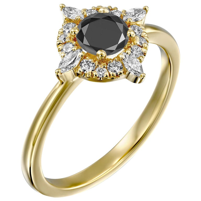 1 Carat 14 Karat Yellow Gold Certified Round Black Diamond Engagement Ring For Sale