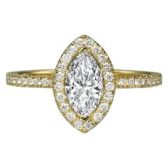 1 Carat 14 Karat Yellow Gold Marquise Diamond Engagement Ring