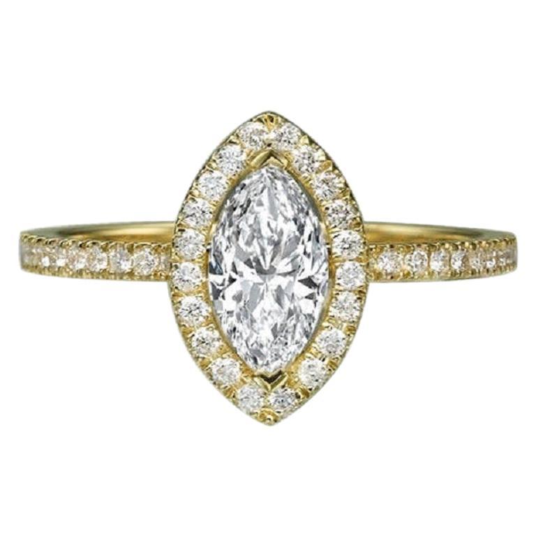 1 Carat 14 Karat Yellow Gold Marquise Diamond Engagement Ring For Sale