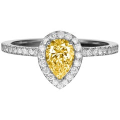 1 Carat 14 Karat Yellow Gold Pear Fancy Yellow Diamond Engagement Ring