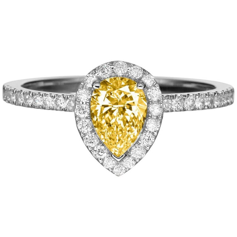1 Carat 14 Karat Yellow Gold Pear Fancy Yellow Diamond Engagement Ring For Sale