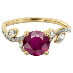 1 Carat 14 Karat Yellow Gold Round Ruby Flower Style Ruby Engagement Ring