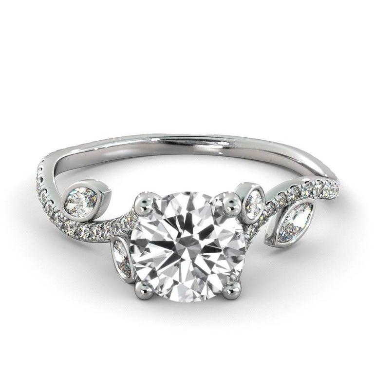 Round Cut 1 Carat 14 Karat Rose Gold Leaf Round Diamond Ring, Leaves Engagement Ring For Sale