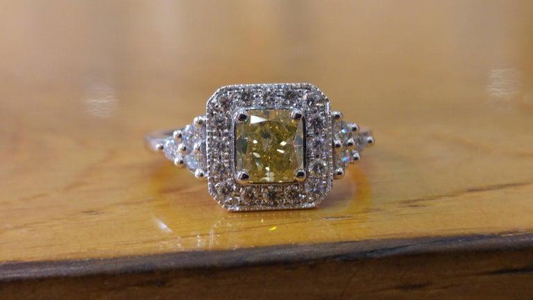Art Deco 1 Carat 14 Karat White Gold Fancy Yellow Cushion Diamond Engagement Ring For Sale