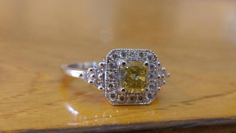 Cushion Cut 1 Carat 14 Karat White Gold Fancy Yellow Cushion Diamond Engagement Ring For Sale