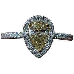 1 Carat 14K White Gold Fancy Yellow Pear Diamond Ring, Pear Diamond Halo Ring