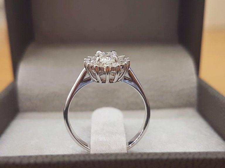 Art Deco 1 Carat 14 Karat White Gold Oval Diamond Engagement Ring, Halo Ring For Sale