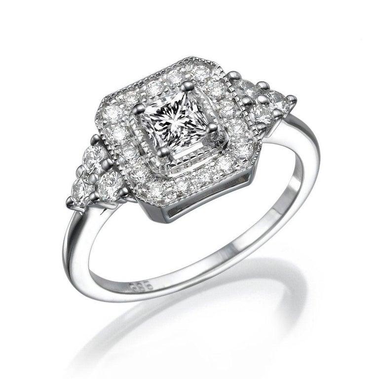 1 Carat Diamond Engagement Ring, Halo Engagement Ring, 1/2 Carat Radiant Cut Ring , Vintage Halo Ring, Milgrain Engagement Ring    Main Stone Name: Diamond  Main Stone Weight: 1/2 ct.  Main Stone Clarity: SI1  Main Stone Color: F  Main Stone Shape:
