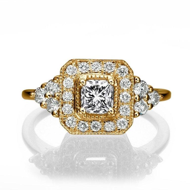 Art Deco 1 Carat 14 Karat White Gold Radiant Diamond Ring, Halo Diamond For Sale