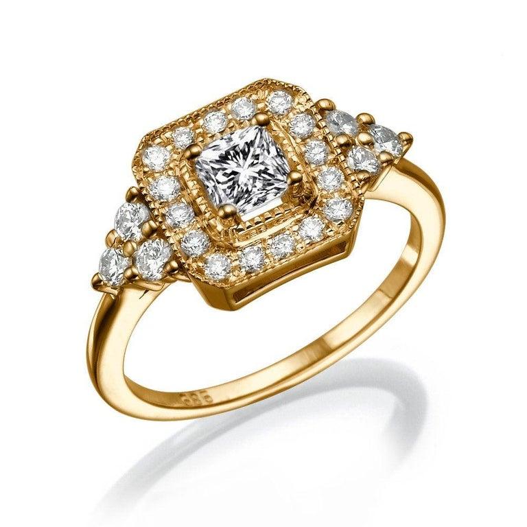 Radiant Cut 1 Carat 14 Karat White Gold Radiant Diamond Ring, Halo Diamond For Sale