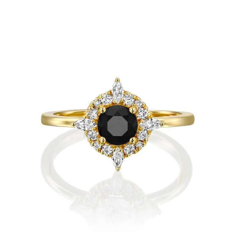 Beautiful solitaire with accents Victorian style diamond engagement ring. Center stone is natural, round shaped, AAA quality Black Diamond of 3/4 carat and it is surrounded by smaller natural round diamonds approx. 0.25 total carat weight. The total