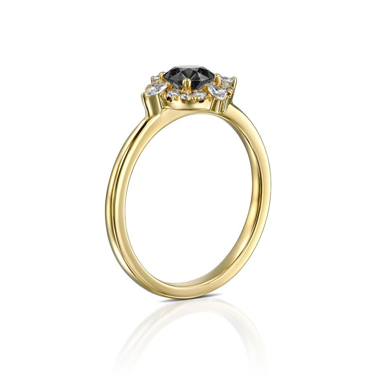 Art Deco 1 Carat 14 Karat Yellow Gold Certified Round Black Diamond Engagement Ring For Sale