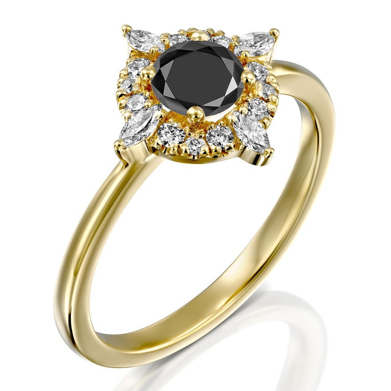 Round Cut 1 Carat 14 Karat Yellow Gold Certified Round Black Diamond Engagement Ring For Sale