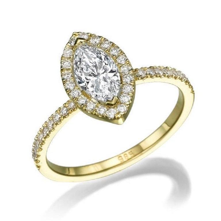 1 Carat Marquise Diamond Engagement Ring, Marquise Cut Engagement Ring, Marquise Engagement Ring, Marquise Halo Diamond Ring    Main Stone Name: Natural Diamond  Main Stone Weight: 0.70 ct.  Main Stone Clarity: SI1  Main Stone Color: F  Main Stone