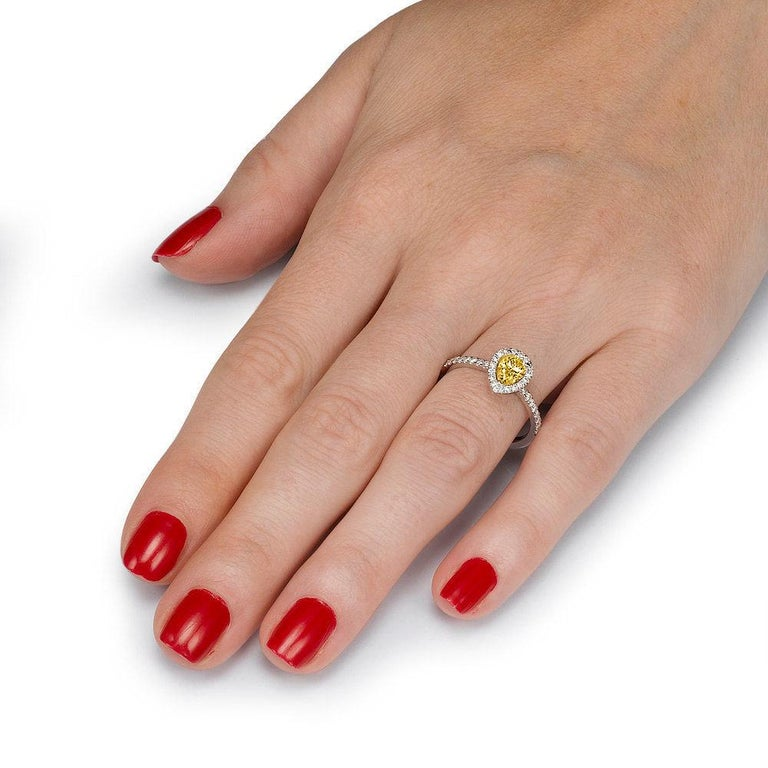 Art Deco 1 Carat 14 Karat Yellow Gold Pear Fancy Yellow Diamond Engagement Ring For Sale