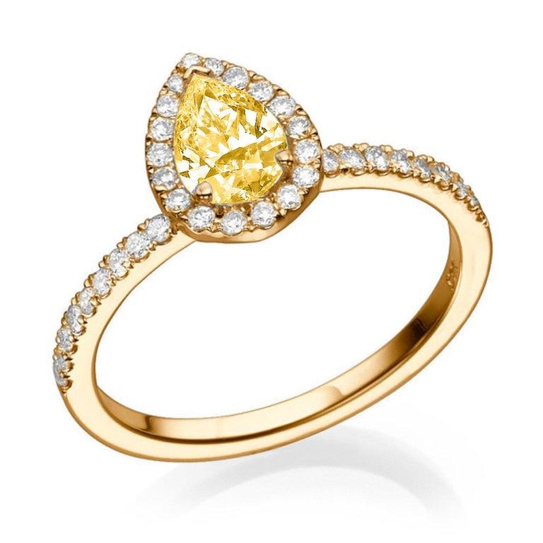 Pear Cut 1 Carat 14 Karat Yellow Gold Pear Fancy Yellow Diamond Engagement Ring For Sale