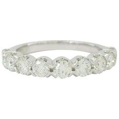 1 Carat 9 Stone Round Brilliant Cut Diamond Platinum Band Ring