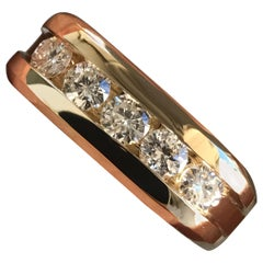 1 Carat Approximate Round Diamond Men's Wedding Band, Ben Dannie