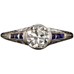 1 Carat Art Deco Diamond Blue Sapphire Ring