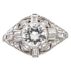 1 Carat Art Deco Inspired Round Brilliant Diamond Platinum Engagement Ring