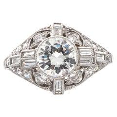 1 Carat Art Deco Inspired Round Brilliant Diamond Platinum Engagement Ring